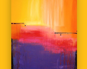 Art, Large Painting, Original Abstract, Acrylic Paintings on Canvas by Ora Birenbaum Titled: On the Horizon 6 30x40x1.5""