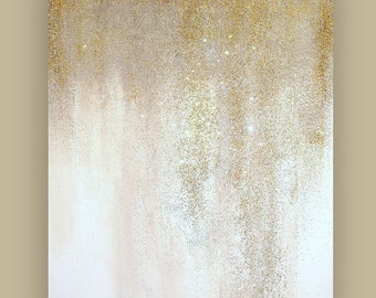 Acrylic, Abstract, Art, Painting, Modern Original Acrylic Abstract Painting Art on Canvas  Ora Birenbaum Titled: Glitter 30x40x1.5""
