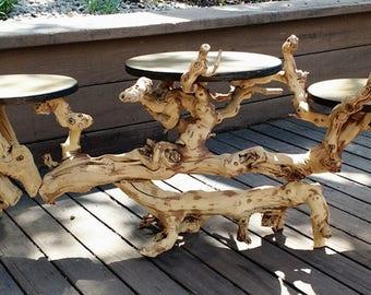 Large Three Tier Organic Driftwood Plant, Display Stand