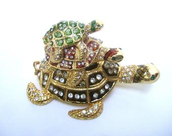 Charming Jeweled Enamel Turtles Trinket Box