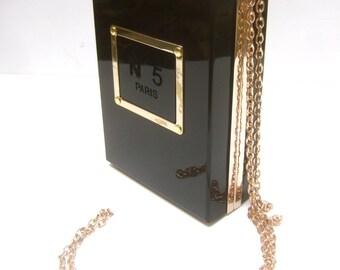 Sleek Black Lucite Perfume Bottle Box Shaped Handbag