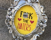 Mini Silver Baroque Framed Cross Stitch - F*ck The Haters