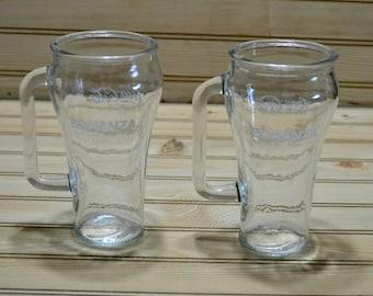Vintage Coca-Cola Bonanza Glasses Restaurant Advertising Advertisement Handled Libbey Canada Set of 2 Tea Water Soda Coke