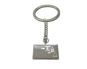 Silver Toned Etched Revolver Gun Pistol Keychain