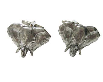 Silver Toned Textured Elephant Head Cufflinks