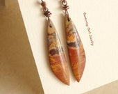 Long Picasso Jasper Stone Earrings, Reddish Brown Red Creek Picture Jasper Spikes, Natural Stone Points, Hammered Copper Jewelry