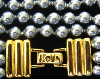 """KJL 3-Strand Gray Faux Pearl Bracelet with Stunning Gold Plated Ribbed Ends & Signed Fold Over Clasp.  Hand Knotted 8 mm Pearls. 8-1/8"""" Long"""