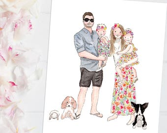 family portrait, custom  illustration, christmas gift, custom portrait, watercolor portrait. custom family art, personalized, gift