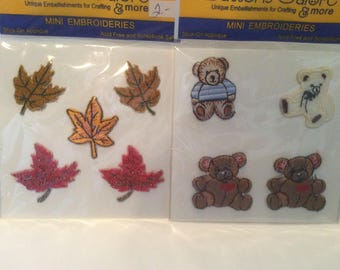 Mini Embroidered Bears or Leaves