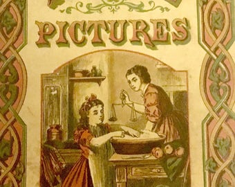 """Rare 1880s Edition of Antique Uncle Ned's Picture Books  """"Home Pictures"""" Published by McLoughlin Bros., New York."""