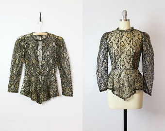 vintage lace blouse / 1970s sheer lace blouse / black gold floral lace top / peplum lace top / open back blouse