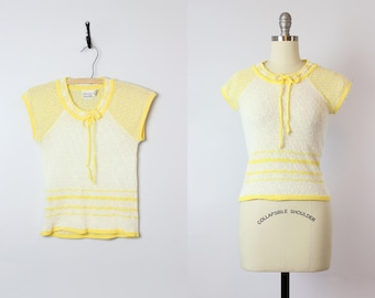 vintage 70s spring sweater / 1970s pointelle knit sweater / yellow and white sweater / short sleeved knit top / drawstring neck knit top