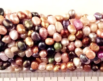 Fresh Water Pearl Multi Color Beads 7-8mm Irregular Shape Jewelry Making Supplies, Craft 98030