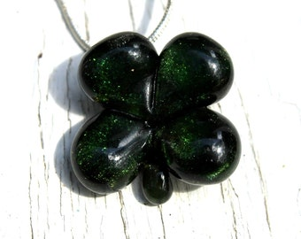 Four Leaf Clover Necklace, Blown Boro Necklace, St Patrick's Day Shamrock, Lucky Charm Pendant