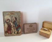 3  Antique Rare Cardboard Jewelry Boxes with Lithograph, Jeweler's Gift Boxes, 1900s.