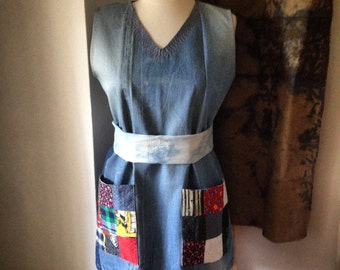 Upcycled Denim Patchwork Dress Tunic with Patch Pockets