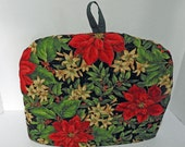 Christmas Holiday Tea Cozy with Red Poinsettas & Trivet- Ready to Ship