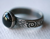 Black Onyx and Sterling Silver Ring/Handmade Ring/ Sterling and Onyx Ring/ Antique Silver Black Onyx Ring