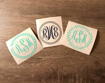 Circle Detailed Monogram Vinyl Decal, Vine, Beaded, Dot Frame, 3 design options, Script, Yeti Decal, Monogram, Vinyl Monogram Phone Sticker