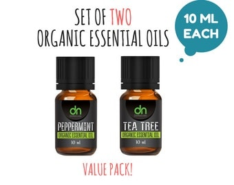 SET OF TWO ~~~ Essential Oil Set - Organic Essential Oil Starter Kit - Essential Oil Sample -  10 ml - Essential Oil Set of two