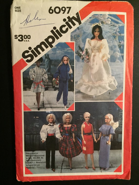 Simplicity Crafts Sewing 80s Pattern 6097 Wardrobe for Dolls Barbie, Brooke Shields, Mini Mod and Mademoiselle Eugene