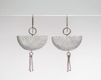 big funky earrings, large dangle earrings, white statement earrings, handmade silver earrings, unique modern jewelry,  gift for girlfriend