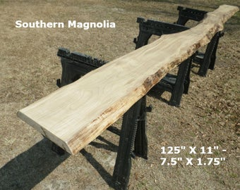 Live Edge Magnolia Finished Wood Slab, Natural Edge Shelf, Bar Top, Foyer Table, Console Table Top, Mantle, Work Station, Entertainment 9022