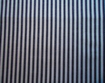 Vintage Navy and White Striped Fabric