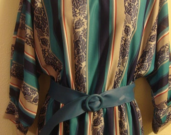 Vintage 1970s Turquoise Blue & Beige Elastic Belted Dress