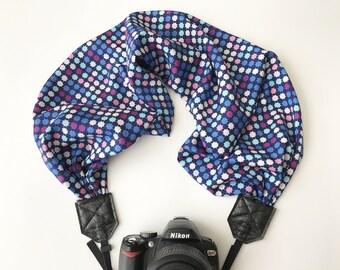 Scarf Camera Strap - camera strap for dSLR digital cameras - camera neck strap - blue star polka dot camera strap - nikon canon