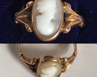 Hallmarked Victorian Cameo ring