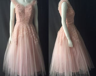 1950s tulle and lace prom dress