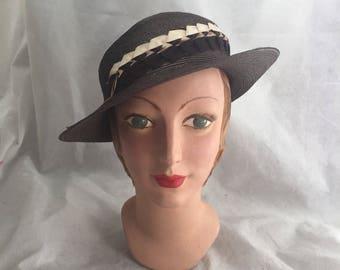 1930s brown straw hat with Art Deco trim