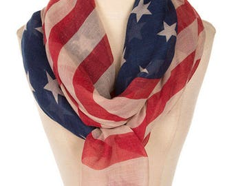 American Flag clothing scarf, fourth 4th of July outfit, Red White and Blue,  Stars and Stripes, Memorial day, Patriotic Scarf,  PiYOYO