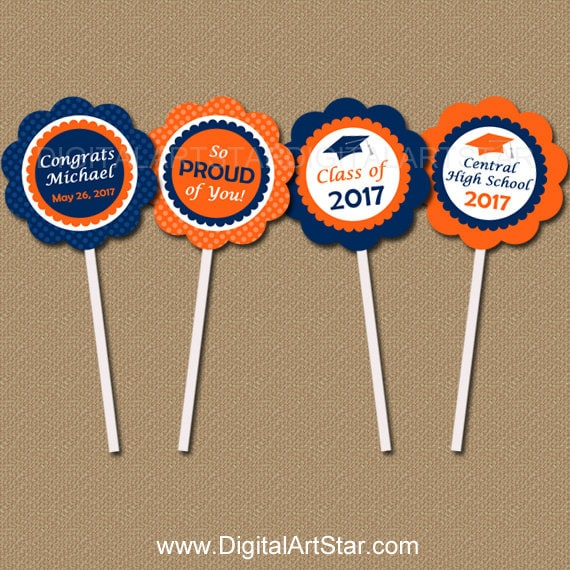 Personalized Graduation Cupcake Topper Download, High School Graduation Party Decorations, PRINTABLE Navy Orange Graduation Party Ideas G6