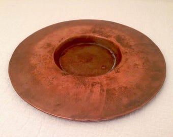 Vintage Solid Copper TRAY/DISH Wide Candle Holder Arts and Craft Style