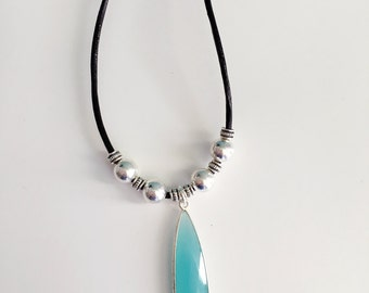 Semi Precious Stone, Leather Necklace, Beaded Necklace, Black Leather Necklace, Aqua Stone Necklace, Teal Necklace