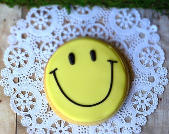 Decorated Happy Faces Shortbread Sugar Cookie Favors, Yellow & Black