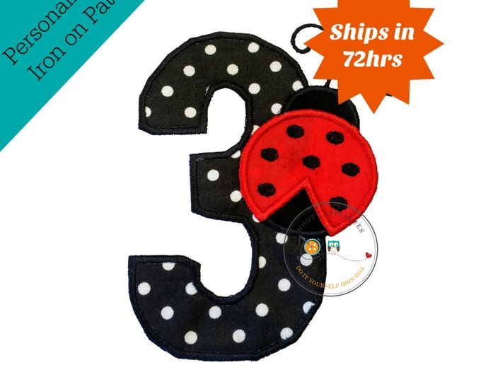 Large lady bug number three with black and white polka-dot - iron embroidered fabric applique patch embellishment- ready to ship