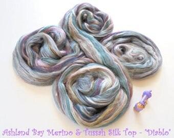 Diablo - Multicolor Merino & Tussah Silk Top from Ashland Bay - 2 oz of Multicolor Combed Top for Spinning or Felting