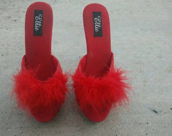 Red pumps with fuzzy feather detail size us 9