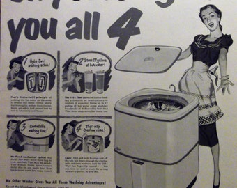 THOR SPINNER WASHER Original Vintage 1950s Magazine Ad Laundry Room Decor Ready To Frame