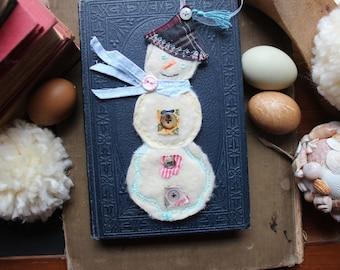 Handmade Winter Snowman Fabric Ornament Decor Christmas