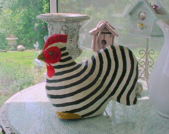 Vintage Rooster Striped Paper Mache Black White French Country Cottage Chic