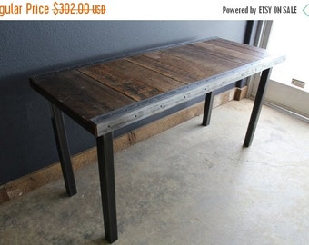 """Custom 20""""x 48""""x 40"""" Industrial Dining Table with raw steel trim and straight steel legs"""