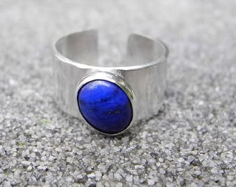 Sterling Silver Lapis Ring, Wide Cuff Ring, Genuine Lapis Lazuli, Dark Blue Lapis, Knuckle Open Ring,  Size 5 1/2, Stone of Enlightenment