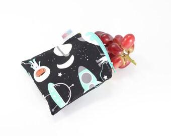 Out in Space Reusable Bag, Reusable Bags, Reusable Snack Bags, Reusable Sandwich Bags, Handmade Zipper Bags, Small Zipper Pouch