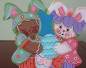 Bunny, Gingerbread, eggs, Easter, shelf sitter, hostess gift, gift for her, spring decor,
