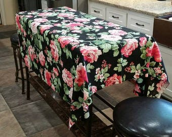 Vintage Pink Cabbage Roses on Black - Material Things - Fabric Tablecloth Remnant 58 x 53 Steve Cooperman Vtg Victorian Floral Print