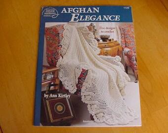 1992 Afghan Elegance, 5 Crochet Designs, American School Needlework, Ann Kirtley